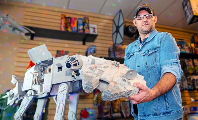 AT-AT Walker Millennium Falcon and Plastic Galaxy Owner Seth Hastings