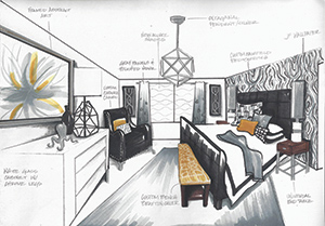 Rendering of room for the Oklahoma Designer Show House by Gia Rose